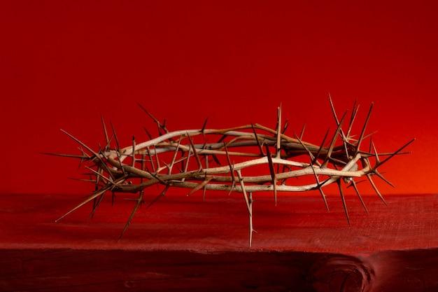 Korona cierniowa ciernista czerwona krew tło z bliska .