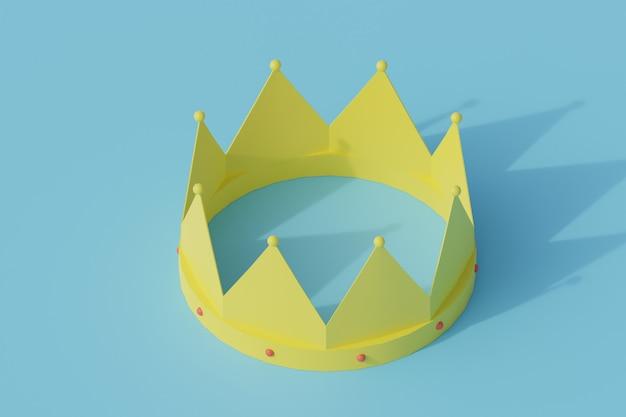 Korona pojedynczy izolowany obiekt. 3d render ilustracji izometryczny