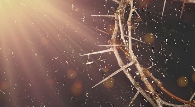 Korona tronowa jezusa chrystusa na ciemnym tle