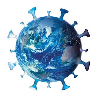 Koronawirus, covid-19, symbol, logo, ikona, z planetą ziemią na białym tle