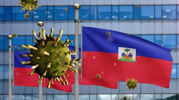 Koronawirus grypy 3d unoszący się nad haitańską flagą z nowoczesnym drapaczem chmur haiti macha sztandarem