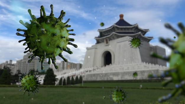 Koronawirus grypy unosi się na pomniku w sali pamięci czang kaj-szeka