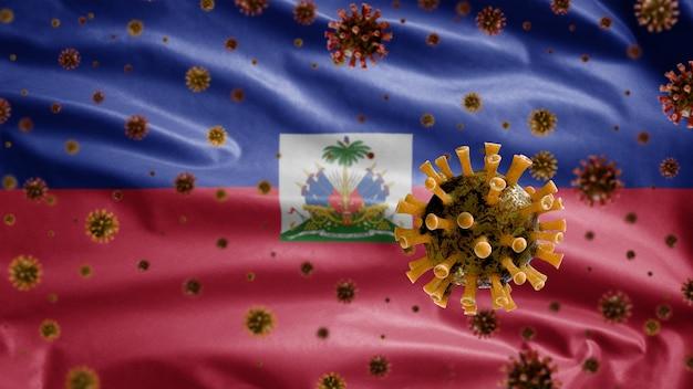 Koronawirus grypy unoszący się nad flagą haiti, patogen atakujący drogi oddechowe