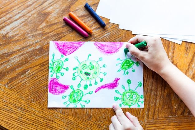 Koronawirus rysujący dla dzieci wiele wirusów atakuje kredki ludzkiego ciała, kolorowe kredki, kreatywność dzieci, tworzenie rzemiosła, dekoracja domu, czas z dziećmi, rozwój umiejętności, szkoła, dom