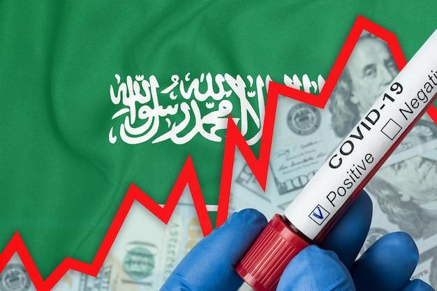 Koronawirus w arabii saudyjskiej. dodatni wynik badania krwi na fladze . wzrost częstości występowania. kryzys ekonomiczny.