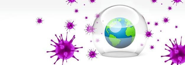 Koronawirus wybuch. koncepcja ochrony przed wirusami epidemii. renderowanie 3d