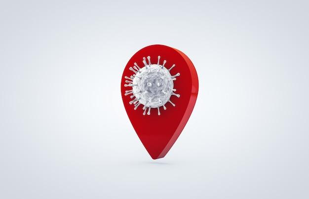 Koronawirus z ikoną pinezki lokalizacji. walka z koronawirusem. brak infekcji i zatrzymanie koncepcji koronawirusa. 3d ikona odizolowywająca na białym tle.