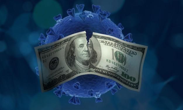 Koronawirus z koncepcją pieniędzy