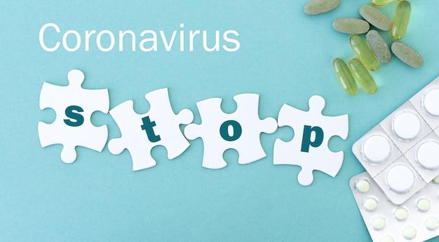 Koronawirus zatrzymuje puzzle w rzędzie za pomocą pigułek