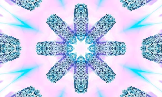 Koronkowy beżowy wzór z kwiatami geometrii na pastelowym różowym tle