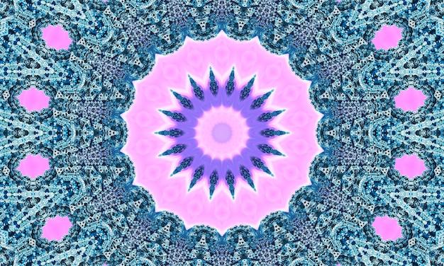 Koronkowy beżowy wzór z kwiatami geometrii na pastelowym różowym tle.