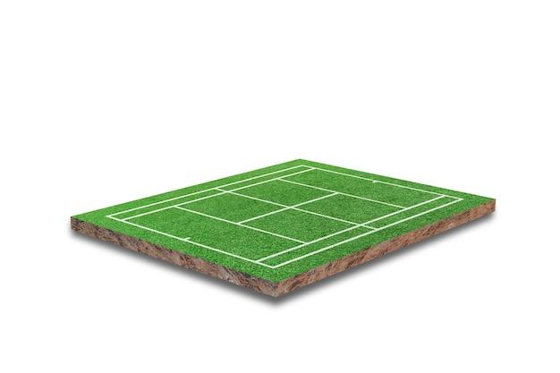 Kort tenisowy na białym tle. realistyczna zielona trawa. renderowanie 3d
