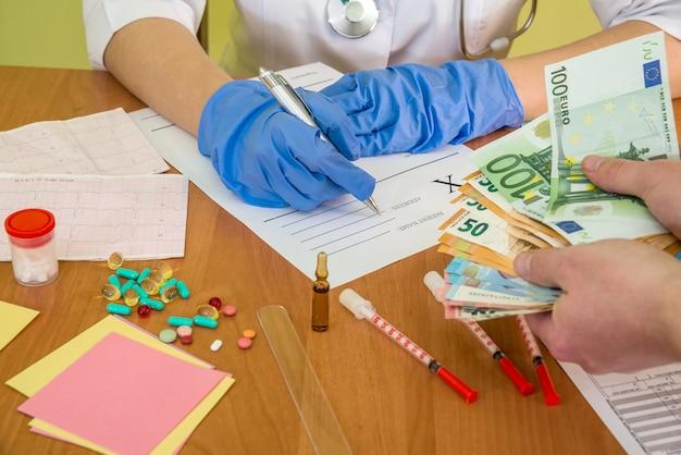 Korupcja w medycynie, pacjent daje banknoty euro