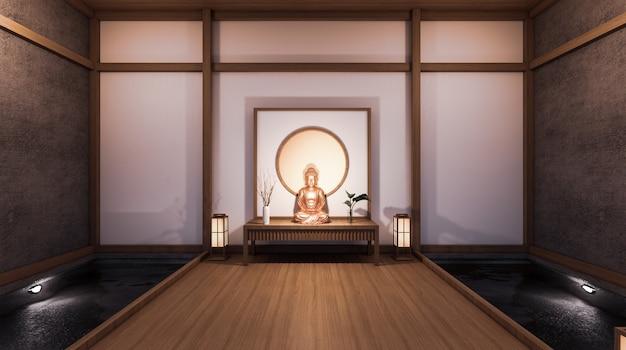 Korytarz, podobnie jak pokój japoński, ma boczny pokój z basenem