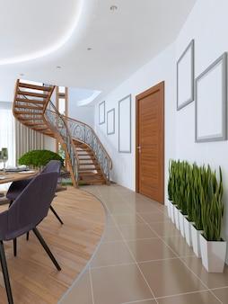 Korytarz prowadzący do spiralnych schodów na piętro