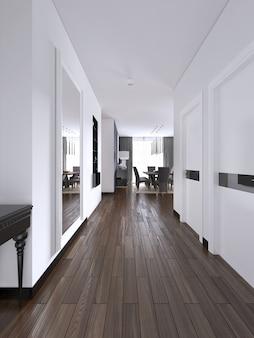 Korytarz przedpokoju w jasnych białych kolorach z drzwiami i wbudowaną prawdziwą wnęką z półkami i dekoracją. renderowania 3d.