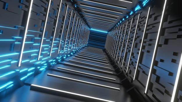Korytarz pustego tunelu sci-fi z prostokątnymi ścianami i białymi neonowymi żarówkami fluorescencyjnymi