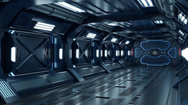 Korytarz statku kosmicznego science fiction