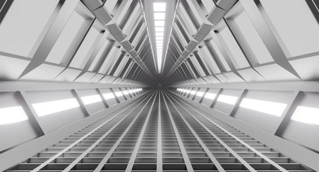 Korytarz statku kosmicznego, tunel ze światłem. science-fiction, koncepcja nauki. renderowanie 3d.