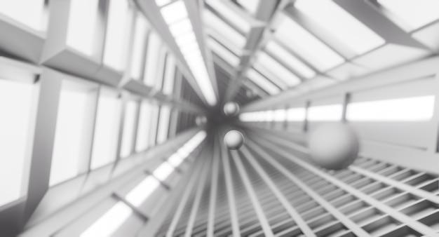 Korytarz statku kosmicznego, tunel ze światłem. science-fiction, koncepcja nauki