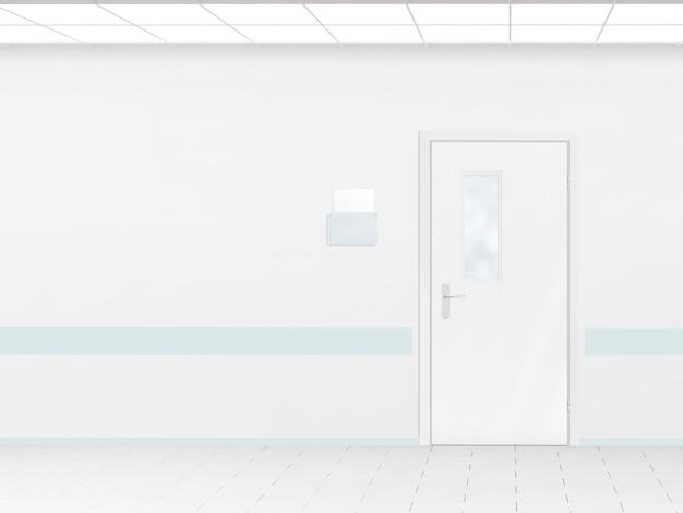 Korytarz szpitalny z pustą makietą ściany