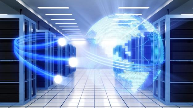 Korytarz w pracującym centrum danych pełen serwerów rackowych i superkomputerów.