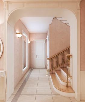 Korytarz z lustrem i schodami na piętro w klasycznym stylu. drewniane stopnie i brązowe poręcze. renderowanie 3d