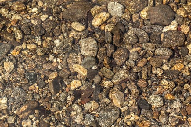 Koryto rzeki - kamienie pod czystą wodą rzeki