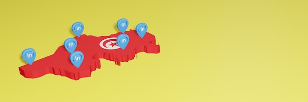 Korzystanie z linkedin w tunezji na potrzeby telewizji społecznościowej i tła strony internetowej obejmuje puste miejsce