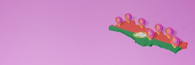 Korzystanie z mediów społecznościowych i instagrama w portugalii infografiki w renderowaniu 3d