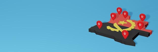 Korzystanie z pinteresta w angoli na potrzeby telewizji społecznościowej i tła strony internetowej obejmuje puste miejsce