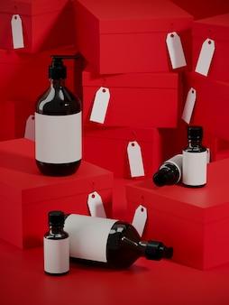 Kosmetyczna butelka na czerwonym zakupy pudełka podium i stercie kartonowy prezentów pudełek tło. 3d renderowania ilustracja.