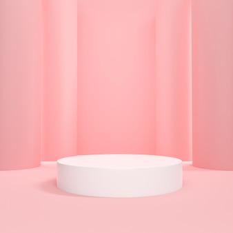 Kosmetyczne podium różowe pastelowe tło do prezentacji produktu.