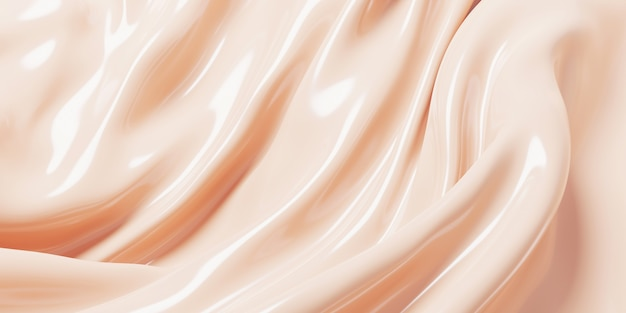 Kosmetyczny podkład w kremowym tle renderowania 3d