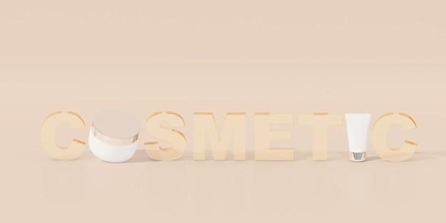 Kosmetyczny tekst na pastelowym brązowym tle. renderowania 3d. minimalna koncepcja kosmetyczna