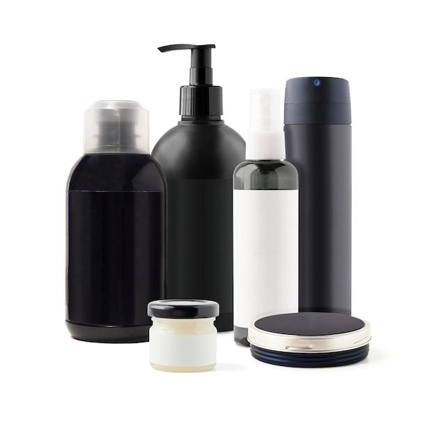 Kosmetyki do pielęgnacji ciała, włosów i twarzy w czarnych słoiczkach i pojemnikach. makieta kosmetyków do pielęgnacji skóry