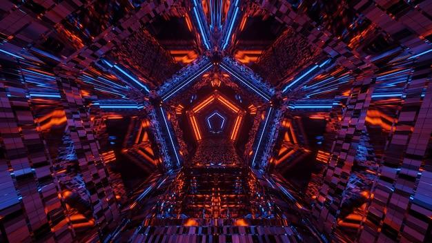 Kosmiczne środowisko z kolorowymi neonami laserowymi