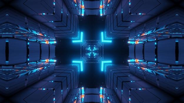 Kosmiczne środowisko z kolorowymi neonowymi światłami laserowymi