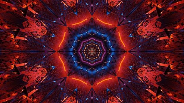 Kosmiczne tło czarno-niebieskich i czerwonych świateł laserowych