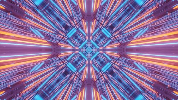 Kosmiczne tło fioletowo-niebiesko-pomarańczowych świateł laserowych - idealne na tapetę cyfrową