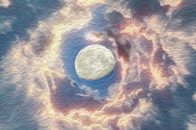 Kosmiczne tło z abstrakcyjnym księżycem i gwiazdami