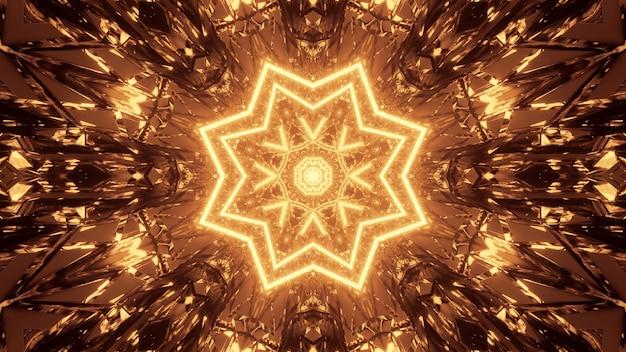 Kosmiczne tło z brązowymi i żółtymi wzorami świateł laserowych - idealne na tapetę cyfrową