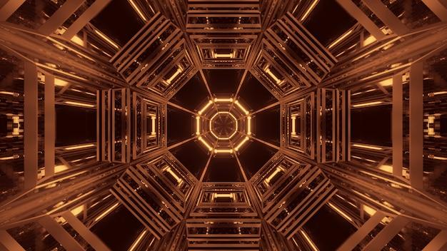 Kosmiczne tło z czarno-złotymi światłami laserowymi - idealne na tapetę cyfrową