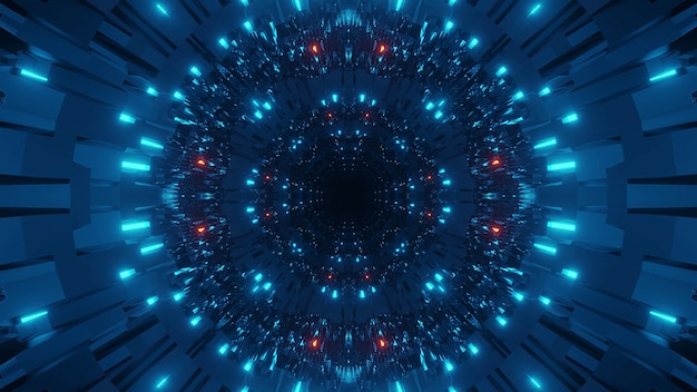 Kosmiczne tło z kolorowymi niebiesko-czerwonymi światłami laserowymi - idealne na tapetę cyfrową