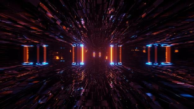 Kosmiczne tło z kolorowymi światłami laserowymi - idealne na tapetę cyfrową