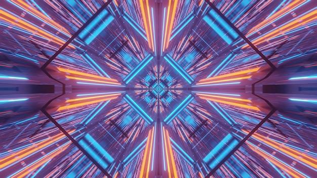 Kosmiczne tło z niebiesko-pomarańczowymi wzorami świateł laserowych - idealne na tapetę cyfrową