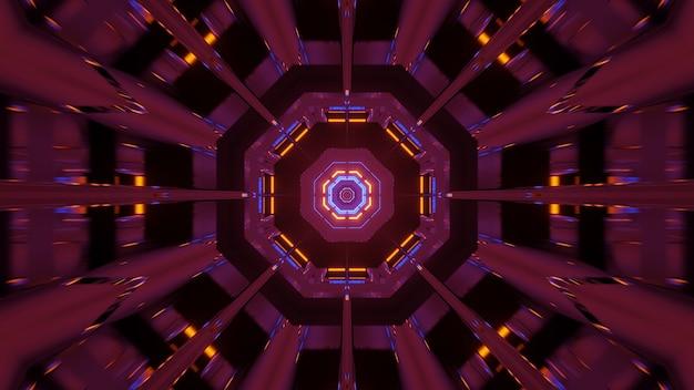 Kosmiczne tło z różowymi pomarańczowymi i niebieskimi światłami laserowymi