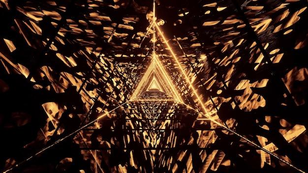 Kosmiczne tło ze złotymi neonowymi światłami laserowymi - idealne na cyfrowe tło