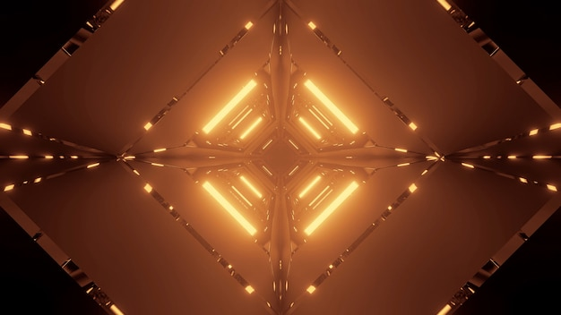 Kosmiczne tło ze złotymi neonowymi światłami laserowymi