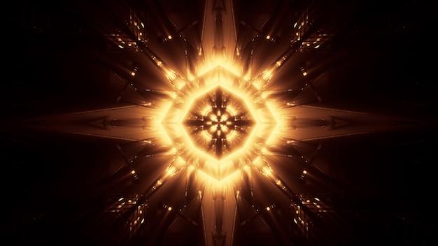 Kosmiczne tło ze złotymi światłami laserowymi - idealne jako tapeta cyfrowa
